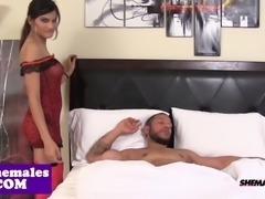 Bigtitted tgirl assfucked before facial