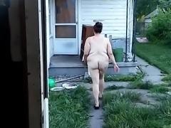 Backyard nude flash