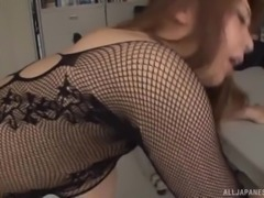 Kazama Yumi is looking beautiful in fishnet costume and her husband couldn't control himself, after seeing her in that sexy attire. He kissed her and fucked in several positions, including missionary, fuck from behind, reverse cow-girl and the session ended with sloppy creampie.