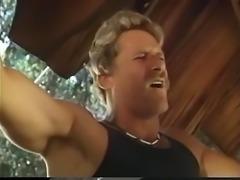 Sexy slut sucking two big cocks outside