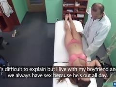 This girl came to the hospital, because of her addiction from sperm. She told the doctor, that her boyfriend is not in town, so he must feed her with his own jizz. The doctor agrees to treat her and help in completing her sexual desires.