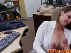 Office babe pawns body for cash POV
