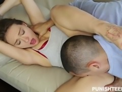 Callie Calypso is a sexy girl, who has been disobedient. Because of this, she gets punished real bad: her hands are tied up, she is being slapped, choked, ass fingered, pulled by her hair. And this is only the beginning. Click and see the the whole bad treatment she gets.