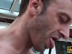 Bound british sub doggystyled before blowjob