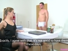 Alexis was feeling horny, so she asked the candidate to remove his clothes. She took his cock in her hand, and gave handjob, until it became fully erected. Then she took it in her mouth. He kissed her, removed her top, pressed her small breasts and inserted fingers in her pussy.