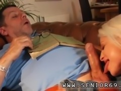 Old squirt Phillipe is sleeping on the couch when naughty Anastasia wakes