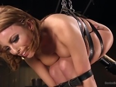 tied-up britney amber sucking huge dildo