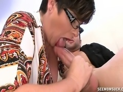 Fat mature lady makes the moves to bring a young stud's cock to orgasm