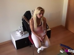 Horny blonde getting laid