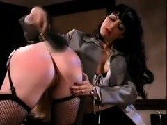 Blonde in lingerie sticks out her ass so her mistress can spank it