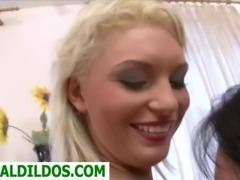 Hot blonde Yana fucked by cute friend with huge strapon