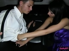 Teen babe pounded in their prom night in a limousine