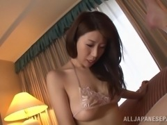 Ayumi has had all sorts of lovers, so no request has ever really been weird for her. That includes this guy, who is getting his ass fingered, then lies on his back, to get more as her other hand jerks his dick.