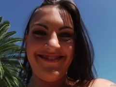 Cute brunette Rachael Madori with puffy nipples spreads her ass cheeks right in the sun and then opens her trimmed pussy. She shows it all with a lovely smile on her pretty face