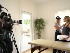 Blond horny hooker Madelyn Monroe asks her slut Latina pal for nice erotic massage