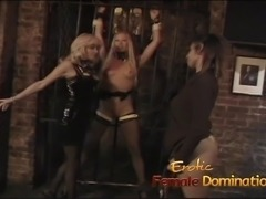 Three lusty bimbos have some kinky lesbian fun in the