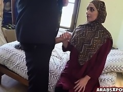 Arab woman gives a blowjob to the hotel owner