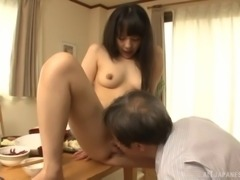 Old guy fucks her sexy Japanese pussy and cums on her ass