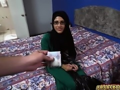 Arab hottie got two cocks in her mouth for a free room