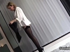 Unfaithful british milf lady sonia exposes her monster boobs