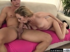 Petite blonde gets her peach eaten out and pounded by her stepbrother