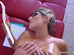 sexy august gets rubbed with oil