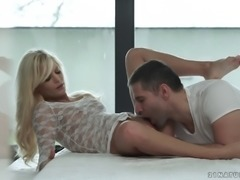 Sexy white lace on the passionate girl he has great desire for