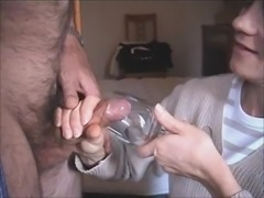Wife blows & drinks cum from glass