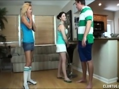 Jc and Chloe drop to their knees and work their hands on a long dick