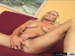 Slutty young blonde spreads her legs wide to get her juicy pussy fucked
