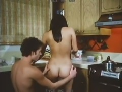 Kinky brunette girlfriend gets her hairy pussy licked and fucked in kitchen