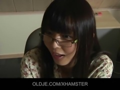 Asian school girl takes old teacher cumshot in her mouth