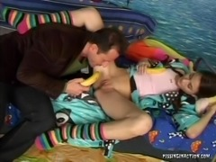 Adorable teen with pigtails roughly rides on a lengthy cock in her lovely bedroom