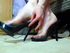 Pretty girl (ballerina) sucking her own toes 2