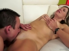 Hairy clam of horny granny is eaten out by thirsty young stud