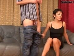 Relaxed Russian maiden riding huge dick hardcore in a threesome femdom seen