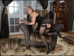 Impossibly appetizing hottie with sexy figure masturbates hard on coach
