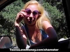 TeensLoveMoney - Blonde Hippie Strips & Fucks For Cash