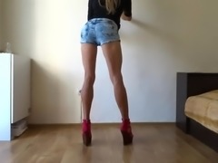 Posing and showing off my athletic long legs and my butt