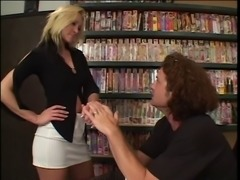 Blonde chick in nylons goes for big hard cock