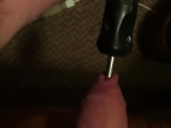 Unbelievable 12 inch screwdriver all the way in man's thick juicy cock