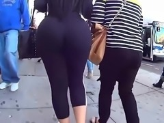 THIS MOM HAS A HUGE ASS. ADIDAS BOOTY IN STREET