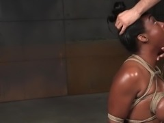 Tied up black girl can't stop gagging on dicks