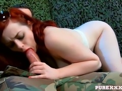 Busty and sexy ginger cutie blows sloppy sugary lollipop