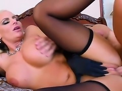 Attractive glamorous blonde bombshell Phoenix Marie with big juicy tits and round jaw dropping ass in black lingerie seduced young muscled stud Johnny Castle and gets pleasured in bedroom.