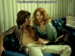 Two majestic retro milfs having awesome FFM threesome in the office