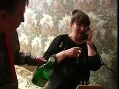 Granny with tasty boobs, plump body & guy