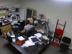 Hidden camera films sexy blonde secretary fucking her boss in the office