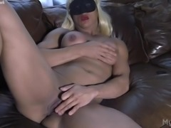 Slave Lauren Rubs Her Wet Pussy and Big Clit