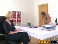 Hot blonde casting agent testing out this hot shaved model
